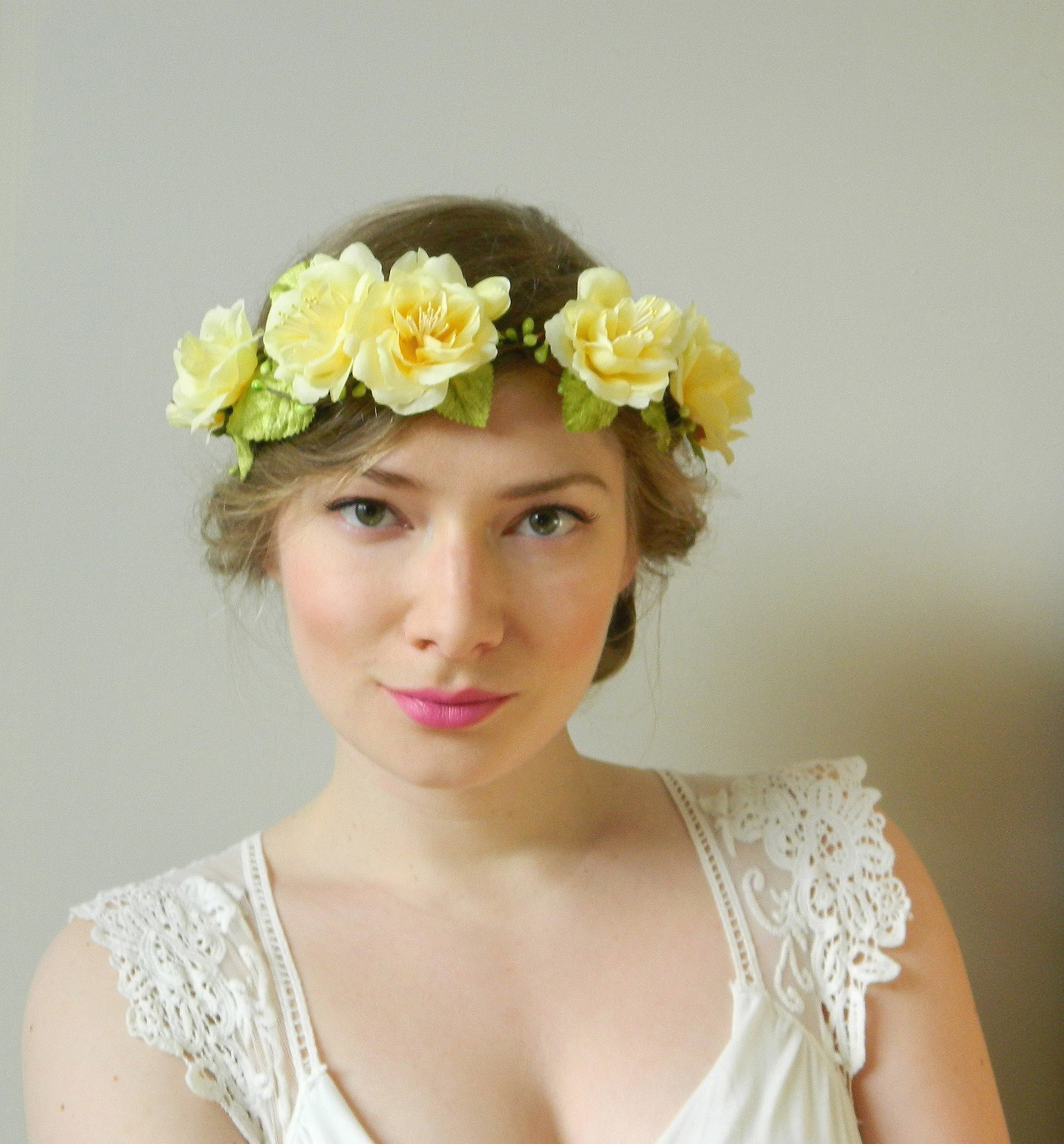 Brighter Days – Yellow Rose Garden Headpiece – Rustic Fairy Hair Crown