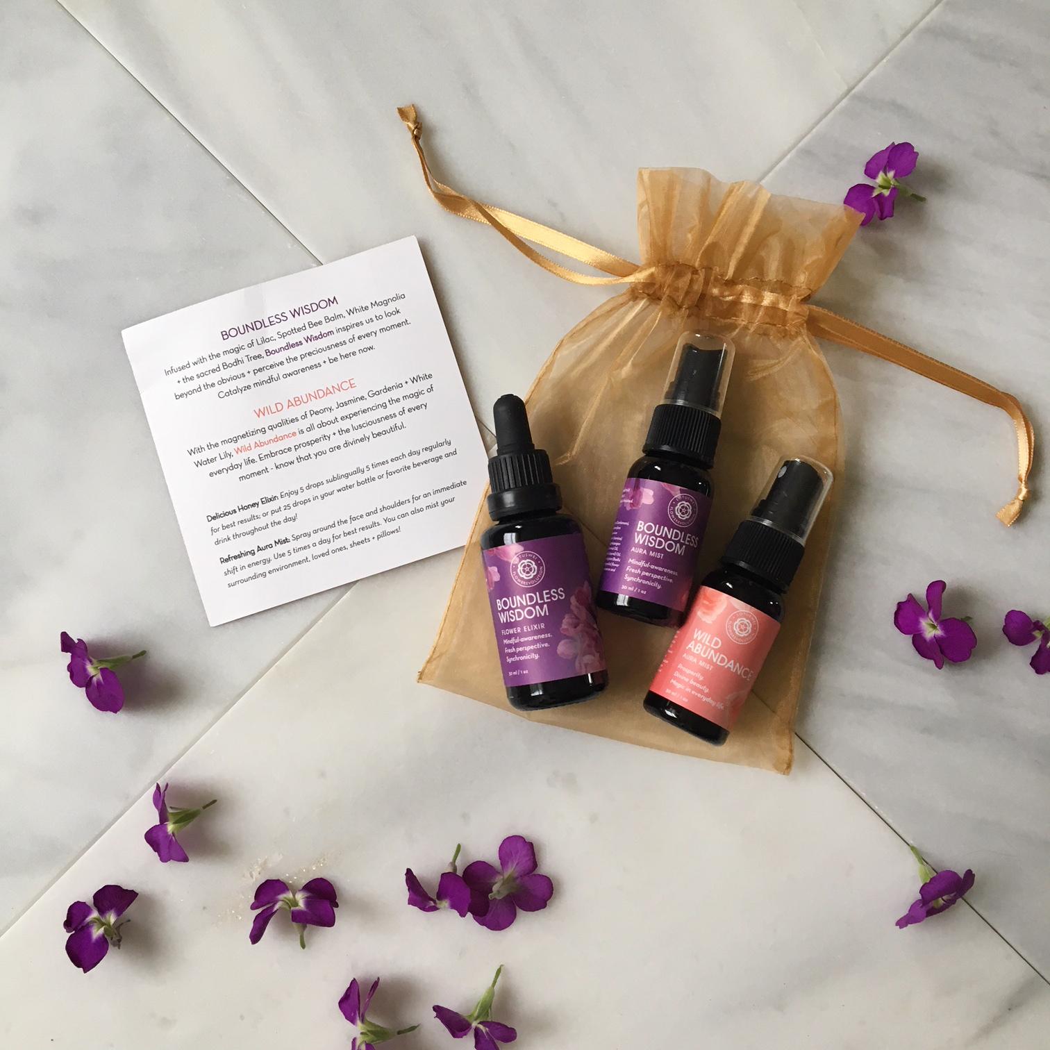 Lotus Wei Wild Abundance and Boundless Wisdom flower elixirs and aura mists