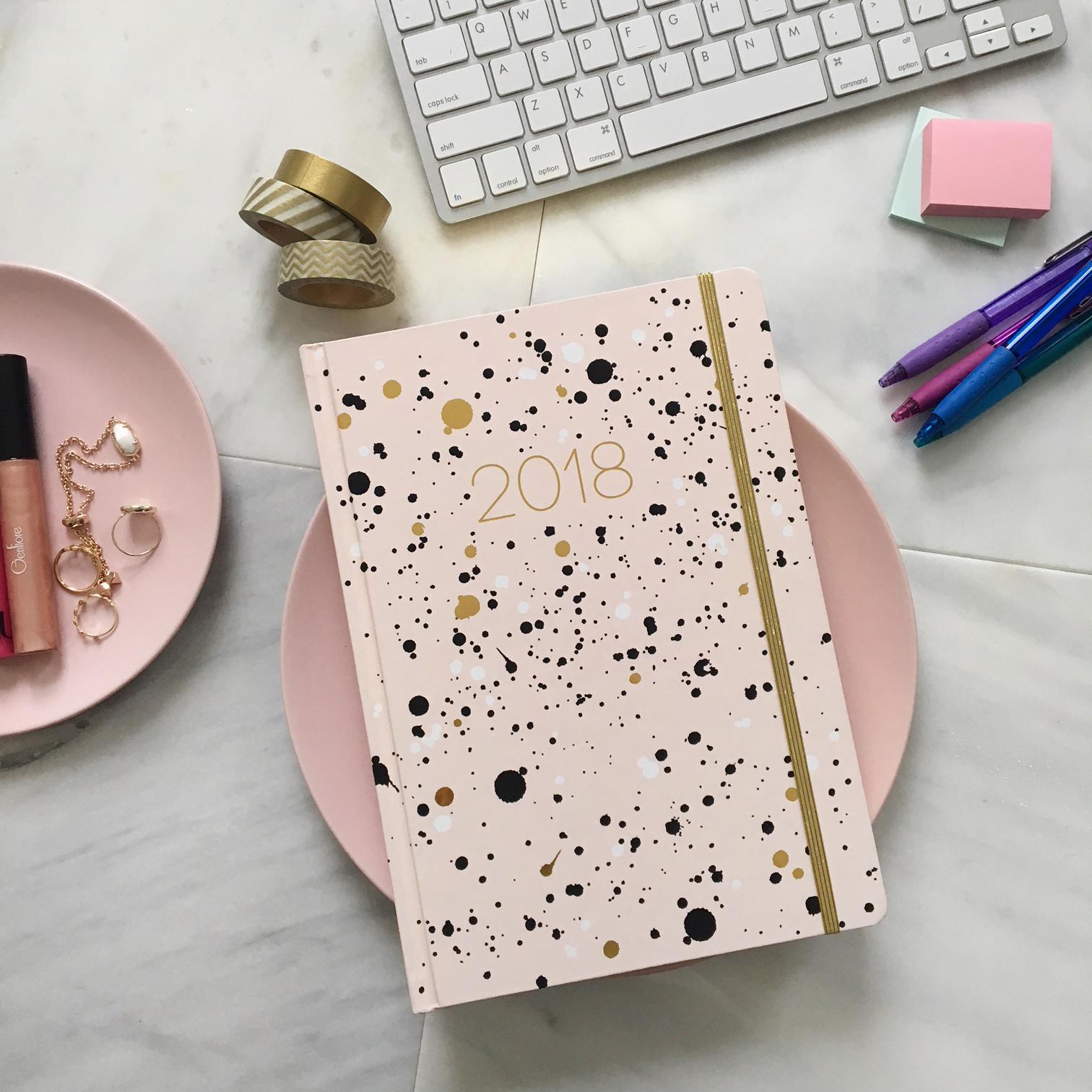 blush and gold foil splatter planner journal